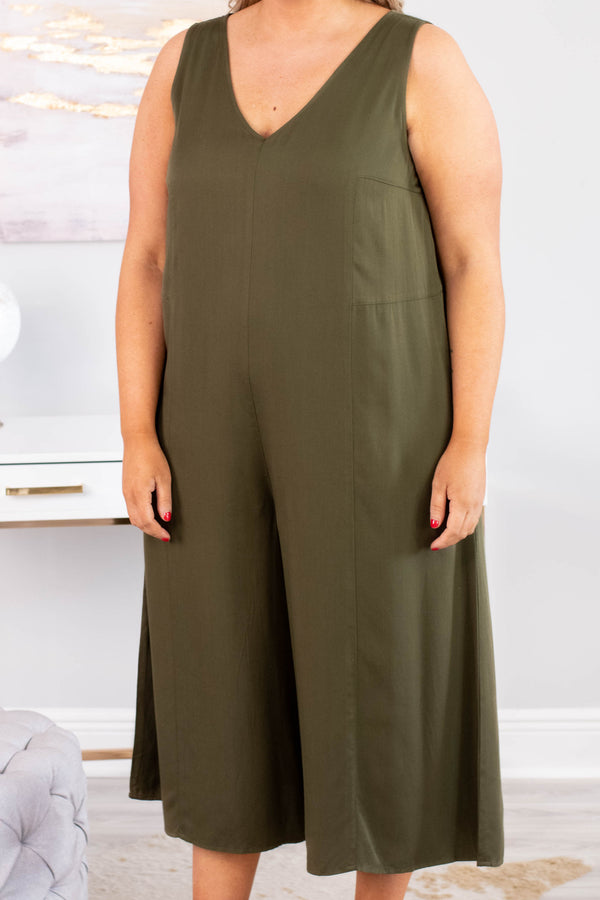 jumpsuit, sleeveless, cropped pant, vneck, wide leg, flowy, olive, comfy