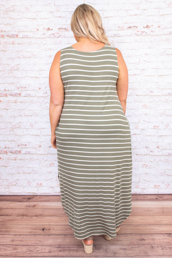 dress, maxi dress, stripes, loose, comfy, pockets, sleeveless, tank top, side slits, spring, summer, long dress, light olive ivory