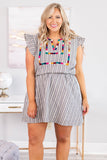 dress, short, short sleeve, cap sleeve, ruffle sleeve, vneck, fitted waist, loose, gray, white, striped, embroidery, multicolored, comfy