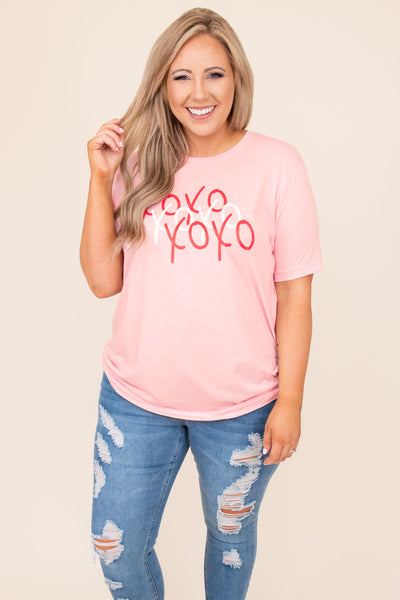 top, tee, pink, xoxo, graphic, short sleeve