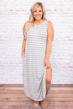 dress, maxi dress, stripes, loose, comfy, pockets, sleeveless, tank top, side slits, spring, summer, long dress, heather gray ivory