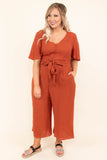 jumpsuit, cropped, v neck, button, tie waist, short sleeve, pockets