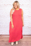 dress, maxi dress, stripes, loose, comfy, pockets, sleeveless, tank top, side slits, spring, summer, long dress, ruby ivory