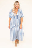 jumpsuit, cropped pants, wide leg, short sleeve, vneck, buttons, pockets, navy, blue, gray, white, striped, comfy