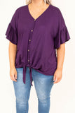 shirt, short sleeve, ruffle sleeves, vneck, button down, tie front, plum, solid, comfy, longer back