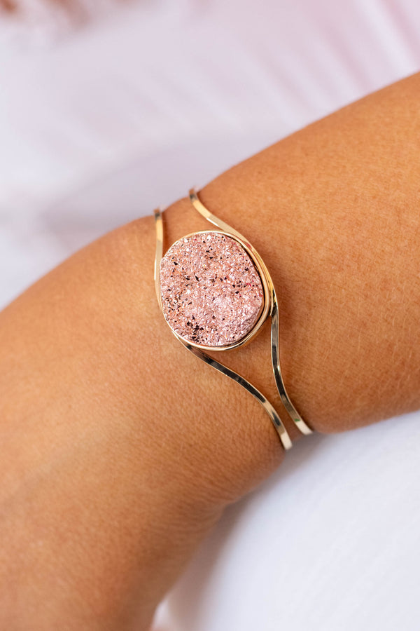 bracelet, cuff, gold, crystal, rose gold