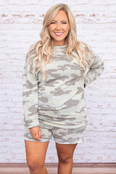 shirt, long sleeve, short, loungewear, tan, gray, camo, comfy