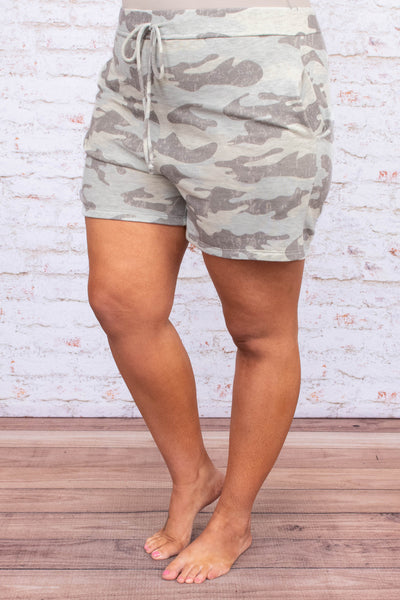shorts, loungewear, drawstring waist, pockets, gray, tan, camo, comfy