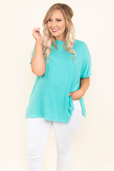 tunic, short sleeve, turquoise, solid, comfy, flowy, side slits