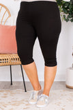 pants, leggings, cropped, below the knee, black, soft