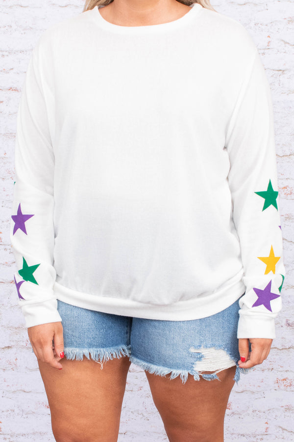 shirt, long sleeve, fitted, short, white, star sleeves, green, purple, yellow, comfy