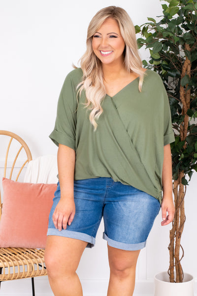 shirt, short sleeve, v neck, wrap top, light olive, comfy, longer back