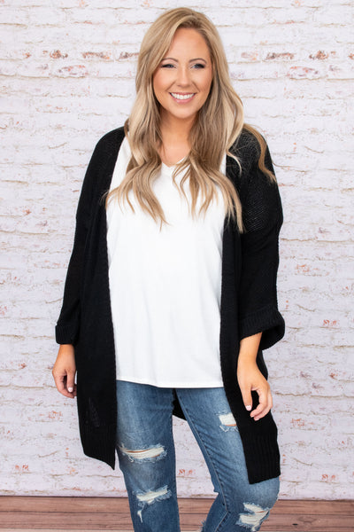 top, cardigan, black, solid, bell sleeve, comfy