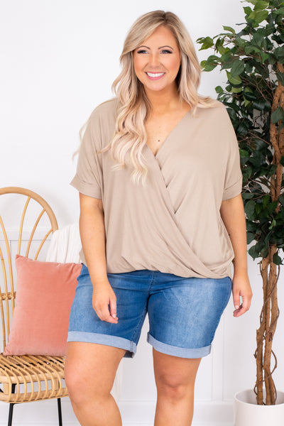 shirt, short sleeve, v neck, wrap top, ash mocha, comfy, longer back