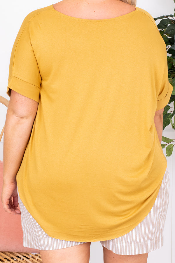 shirt, short sleeve, v neck, wrap top, light mustard, comfy, longer back