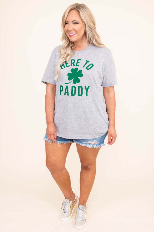 tshirt, short sleeve, gray, graphic, here to paddy, four leaf clover, green, comfy