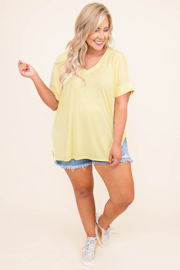 shirt, short sleeve, cuffed sleeves, vneck, loose, comfy, yellow