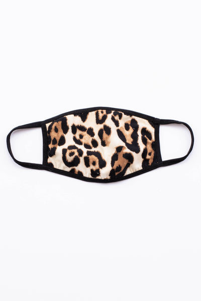 face mask, covid, comfy, ear straps, leopard, brown, beige, black