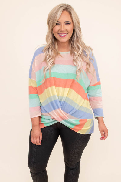 shirt, three quarter sleeve, twisted front, long back, lavender, pink, green, orange, yellow, striped, comfy