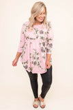 tunic, three quarter sleeve, babydoll, curved hem, flowy, long, pink, floral, green, white, purple, comfy