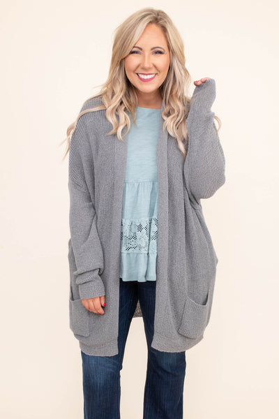 cardigan, long sleeve, long, pockets, gray, comfy, outerwear