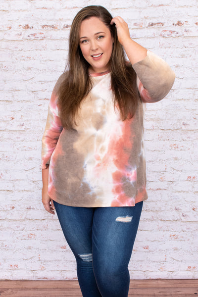 top, casual top, orange, brown, tie dye, long sleeve