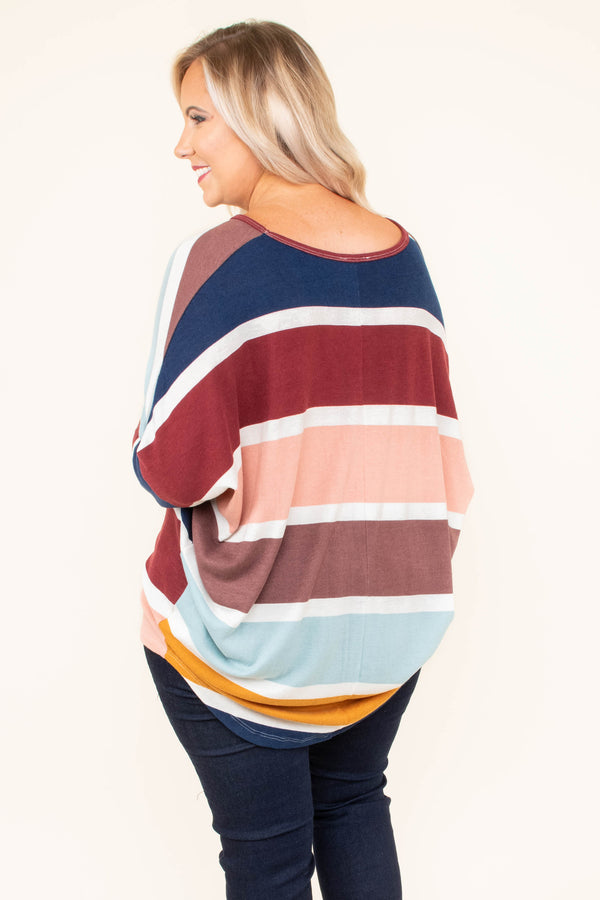 shirt, long sleeve, drapey, curved hem, blue, white, mustard, navy, burgundy, peach, colorblock, comfy, fall, winter