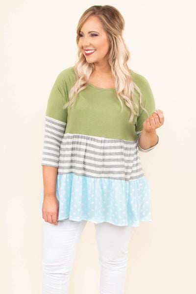 tunic, three quarter sleeve, ruffles, green, gray, white, mint, stripes, polka dots, colorblock, flowy, comfy