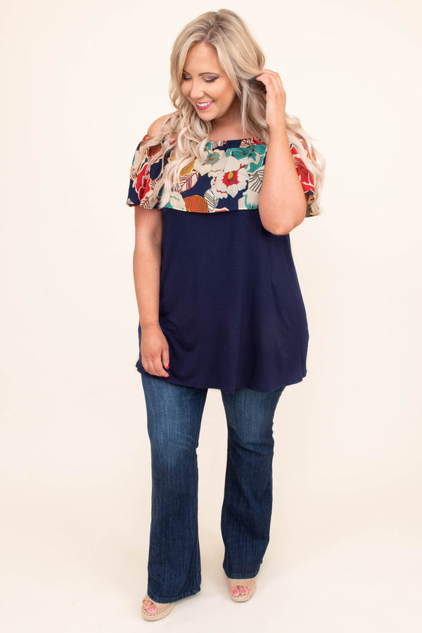 shirt, short sleeve, off the shoulder, ruffle top, long, flowy, navy, floral top, red, white, blue, orange, comfy, spring, summer