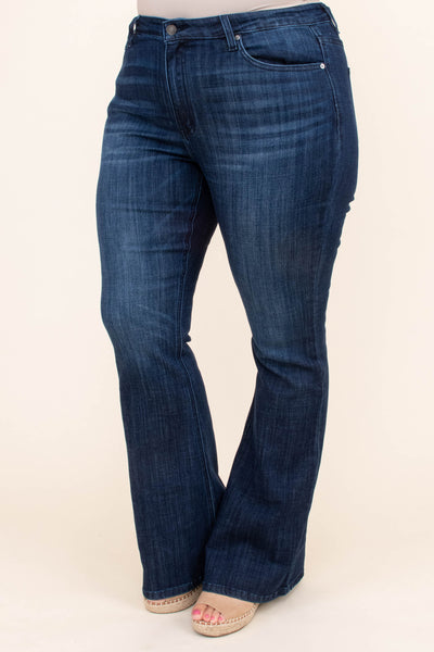 jeans, long, flare, dark blue, faded