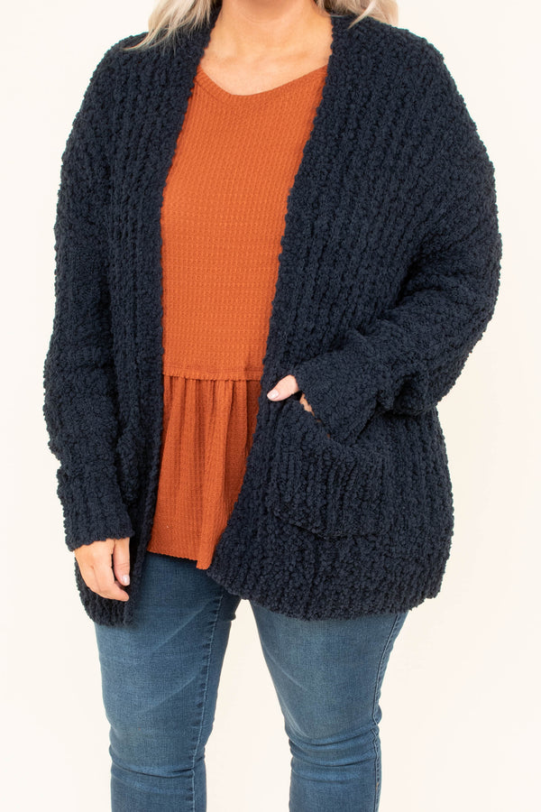 cardigan, long sleeve, snuggly, cozy, pockets, knit, sweater, navy