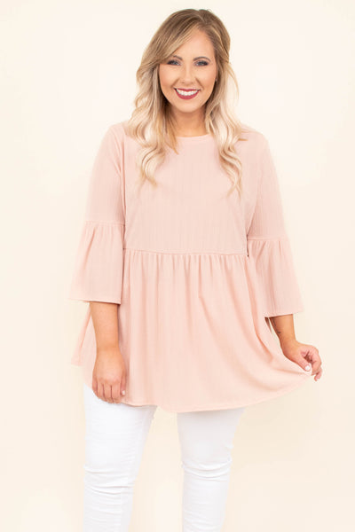 top, long sleeve, ruffle sleeve, peach, baby doll fit, flowy