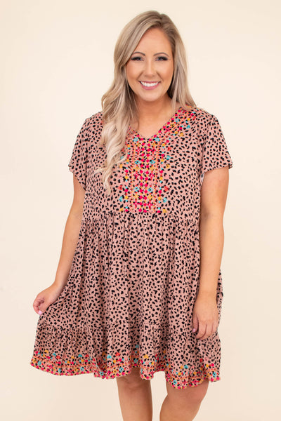 dress, short, short sleeve, mocha, embroidery, leopard, v neck. loose, flowy, pink blue orange detailing, spring, summer