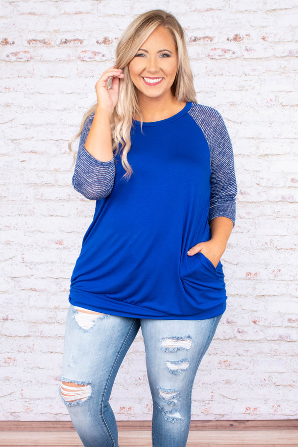 Chilly Afternoons Top, Royal Blue
