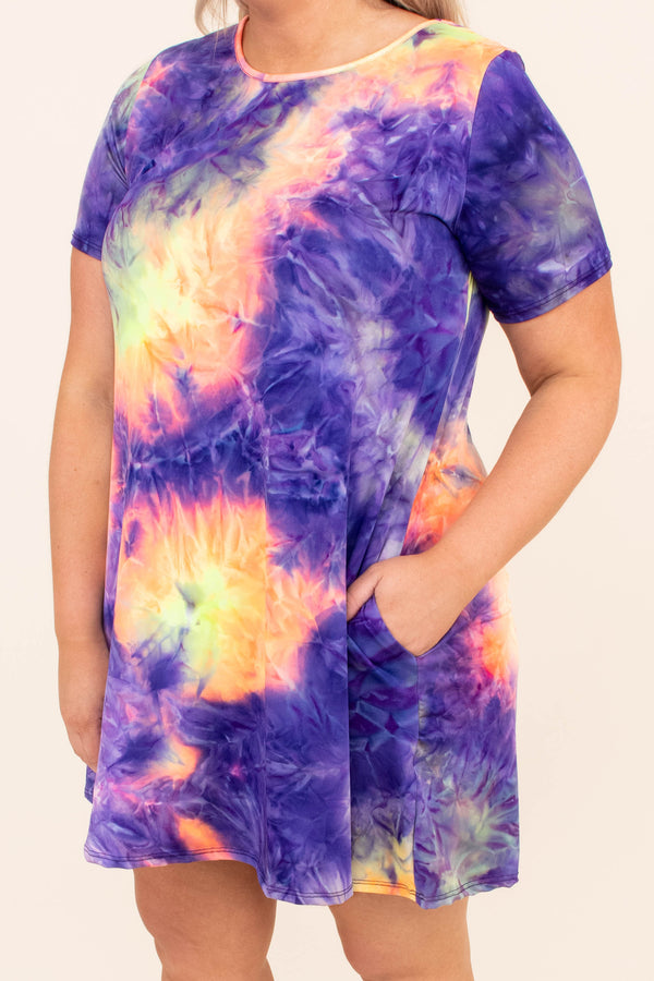 dress, short dress, above the knee, short sleeve, tie dye, purple, yellow, orange, comfy, loose