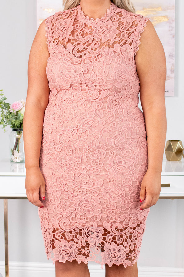 dress, short, sleeveless, high neck, fitted, lace, pink, comfy