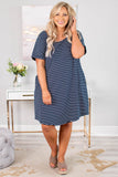 dress, short, short sleeve, pockets, curved hem, scoop neck, flowy, navy, white, striped, comfy