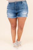 shorts, denim, distressed, medium wash, above the knee