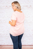shirt, short sleeve, scallop hems, loose, blush, comfy