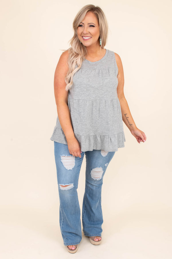 shirt, tank top, sleeveless, baby doll, heather gray, loose, comfy, spring, summer
