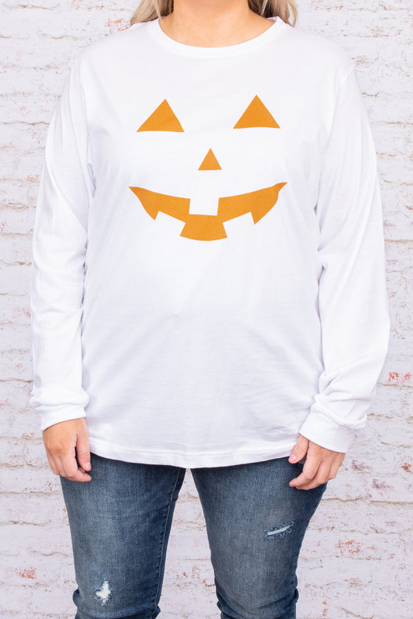 graphic, long sleeve, pumpkin, fall, white, orange, comfy, figure flattering, top, round neck