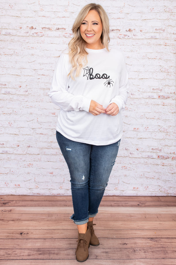graphic, long sleeve, print, white, comfy, figure flattering, round neck, comfy