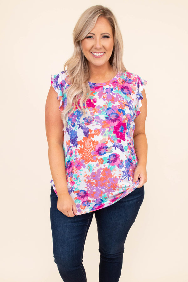 shirt, short sleeve, ruffle sleeve, floral, bright, ivory, pink, blue, purple, comfy, spring, summer