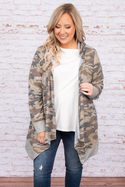 top, cardigan, camo long sleeve, open front, comfy, print, flowy, long, above the knee