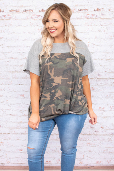 shirt, short sleeve, twisted hem, loose, green, black, tan, camo, colorblock, gray, comfy