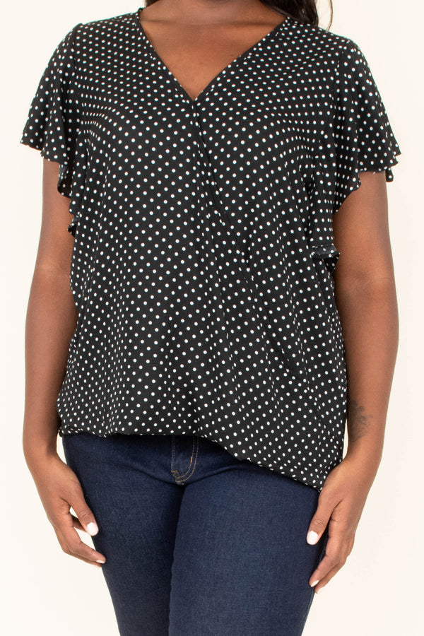 top, v neck, polka dot, black, ivory, ruffle sleeve