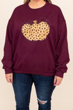 sweatshirt, graphic, pumpkin, marron, long sleeve, comfy, top, pattern, print