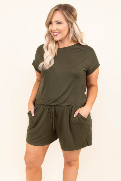romper, short sleeve, shorts, drawstring waist, pockets, loose, olive, comfy, spring, summer, keyhole back