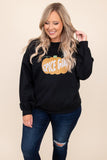 sweatshirt, graphic, black, top, comfy, long sleeves