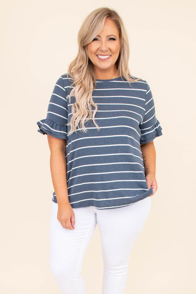 short sleeve, shirt, striped, navy, ivory, ruffled sleeves, comfy